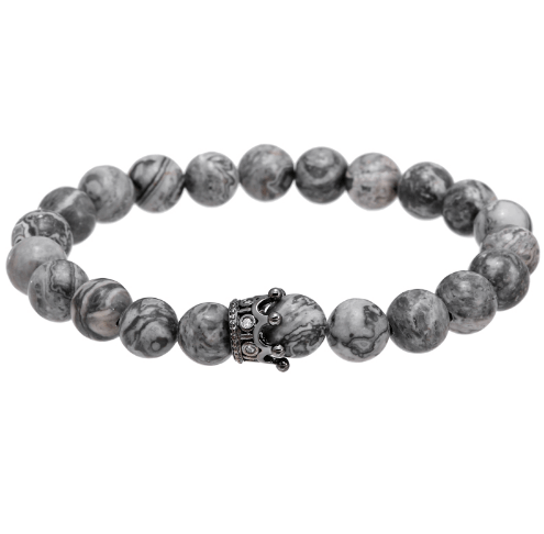 Jasper Beads Crown Bracelets - More Styles Available - GuysDrawer.com - 3