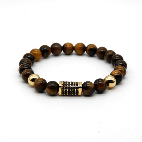 Onyx Cuboid Tiger Eye Bracelets - More Styles Available - GuysDrawer.com - 1