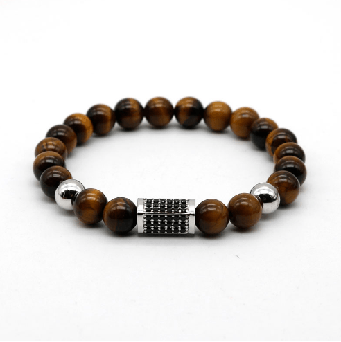 Onyx Cuboid Tiger Eye Bracelets - More Styles Available - GuysDrawer.com - 2