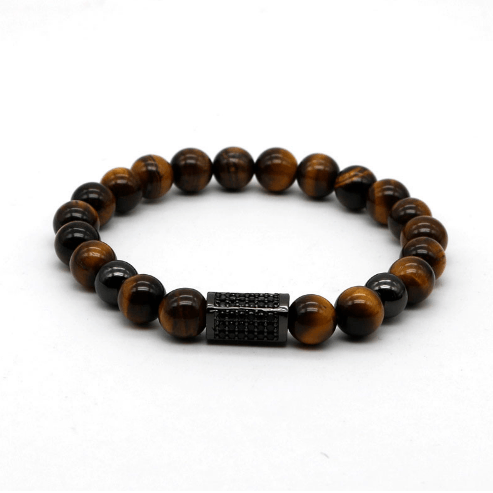 Onyx Cuboid Tiger Eye Bracelets - More Styles Available - GuysDrawer.com - 3