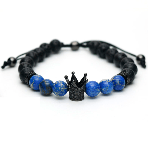 Lava Sediment Stone King Lace Up Bracelets - More Styles Available - GuysDrawer.com - 2