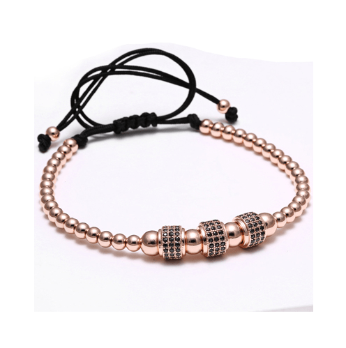 Zircon Roundels by 3 Macrame Bracelets - More Colours Available