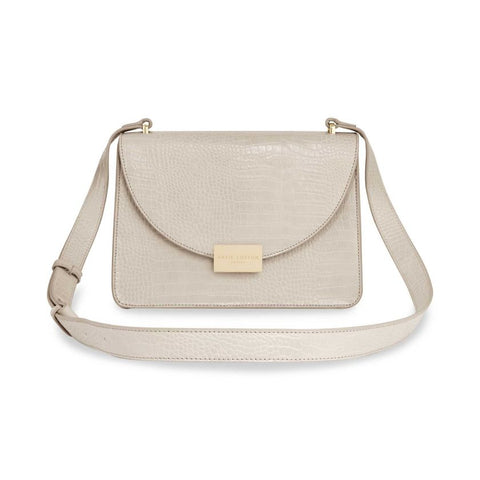 CELINE FAUX CROC CROSSBODY BAG | OYSTER