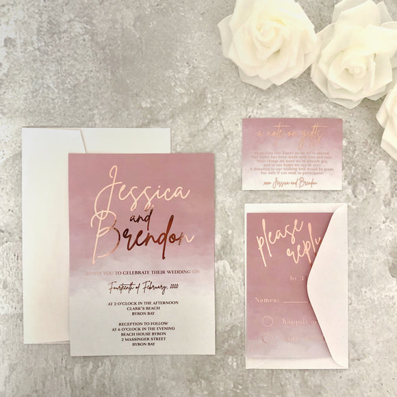 Sienna Rose Gold Ombre Watercolour Wedding Invitation