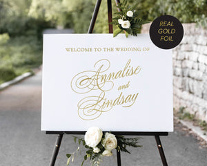 """Annalise"" Welcome Sign with Gold Foiling printed on 5mm White PVC board"
