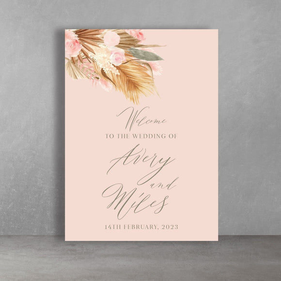 Blush Pink Boho Rustic Wedding Welcome Sign Printed A1 or A2 Rigid Board Seating Chart