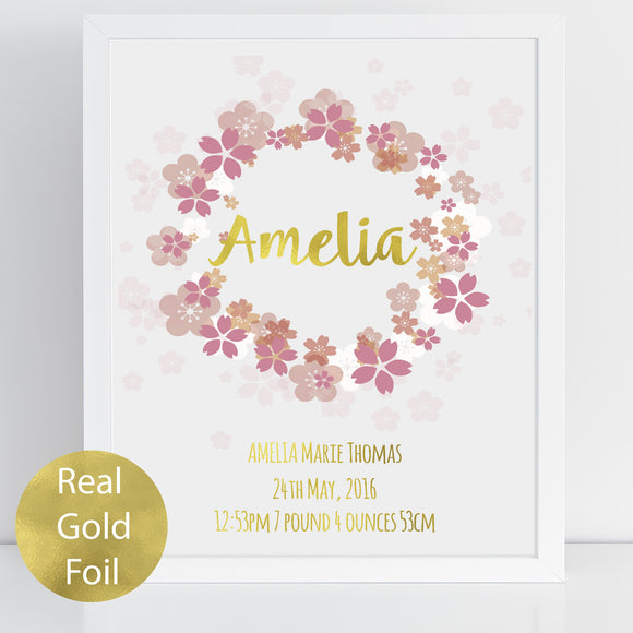 Cherry Blossom Floral Wreath Personalised Gold Foil Nursery Print