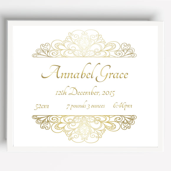 Gold Foil Personalised Birth Announcement Print