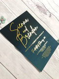 """Sienna Moody Blues"" Navy Turquoise Ombre Watercolour Foil Invitation"