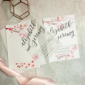 """Elizabeth"" Vellum Cherry Blossom Wedding Invitation"