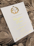 Gold Foil Monogram Crest Invitation
