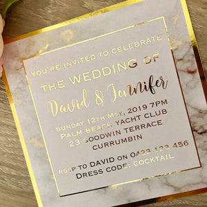 Marble effect gold foil wedding invitation