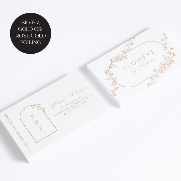 gold silver rose gold foil business cards florist flowers