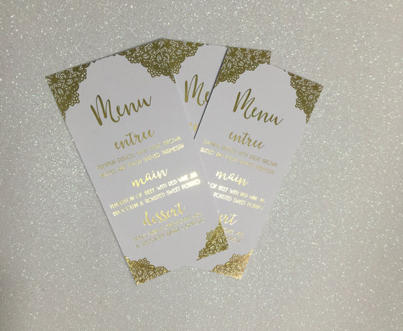 Wedding Menu Cards in Real Gold Foil