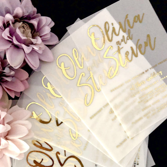 Vellum Gold Foil Invitation