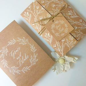 """Grace"" Rustic Kraft Tri-fold Wedding Invitation"