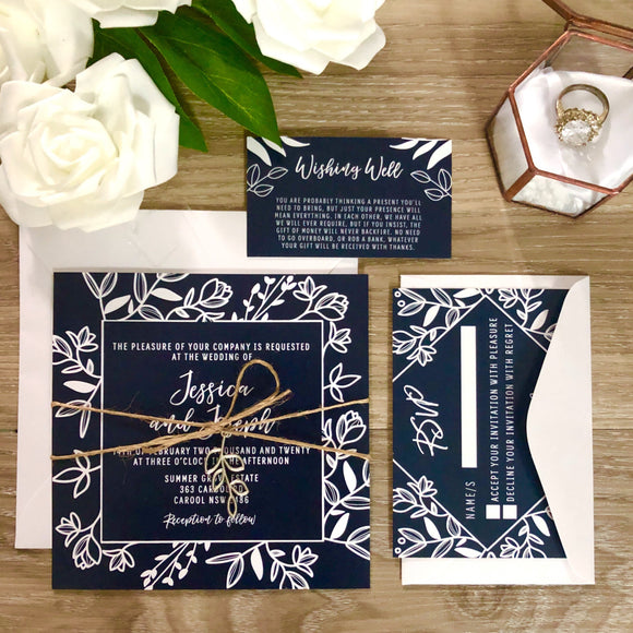 Navy and White Rustic Leaf Pendant Wedding Invitation