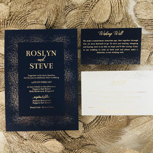 Navy and gold foil wedding invitation