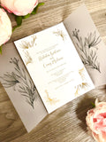 """Natalia"" Gold or Rose Gold Foil Invitation Suite with Vellum Wrap"