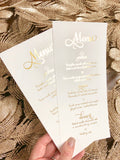 Wedding Menu Cards in Gold or Rose Gold Foil