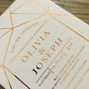 Rose Gold Foil Geometric Invitation