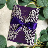 """Sophia"" Invitation with Silver Foiling and Glitter Laser Cut Pocket"