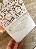 Gold Foil or Rose Gold Foil Lace Pocket Laser Cut Wedding Invitation