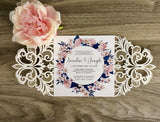 Rustic Flower Laser Cut Wedding Invitation