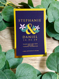 """Stephanie"" Gold Foil Save the Date Wedding Invitation in Blush Dusty Pink, Purple or Navy"