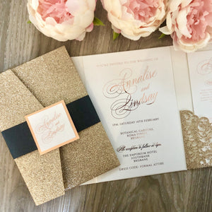 """Annalise"" Glitter Laser Cut Lace Pocket Fold Invitation in Rose Gold, Gold and Silver"