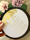 Gold, Rose Gold or Silver Foil Round Flower Menu