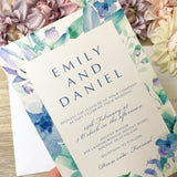 Watercolour pocket invitation suite floral dusty blue 5