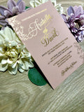 Arabella Vellum Wax Seal Gold Foil Wedding Invitation in Blush Pink