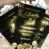 Arabella Gold Foil Wedding Invitation in Black