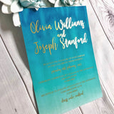 Ombre Blue Turquoise Gold Foil Wedding Invitation