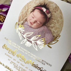 Christening or Baptism Photo Foil Invitation