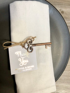 Antique Style Key Bottle Opener with Foil Thank You Tag