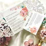 Lauren Laser Cut Rustic Watercolour Flower Wedding Invitation