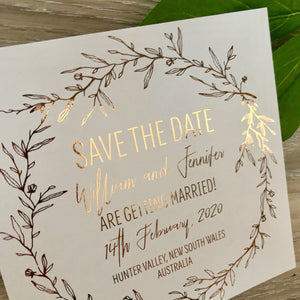 Leaf Wreath Rustic Rose Gold Foil Save the Date Invitation