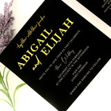 """Abigail"" Black, White and Gold Invitation Suite"