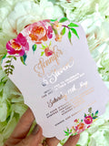 Rose Gold Foiled die cut wedding invitation
