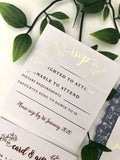 Navy Laser Cut with Gold Foil Insert Invitation