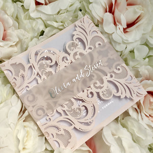 Blush Pink Laser Cut Wedding Invitation with Silver Foil