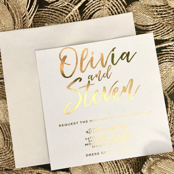 Gold Foil Olivia Invitation
