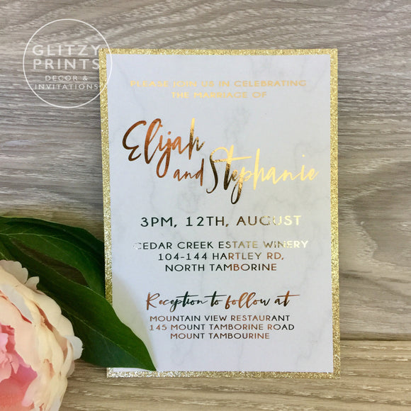Glitter Foil Wedding Invitation