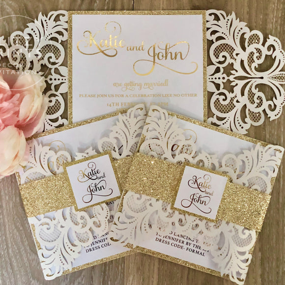 Glitter Gold Foil Laser Cut Wedding Invitation