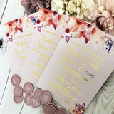 Madeline Vellum Wax Seal Gold Foil Blush Pink Invitation