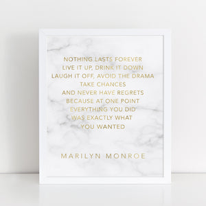 Gold Foil and Marble Art Print