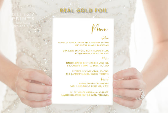 Wedding Menu Cards in Real Gold Foil A5 size