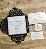 Navy and silver laser cut invitation